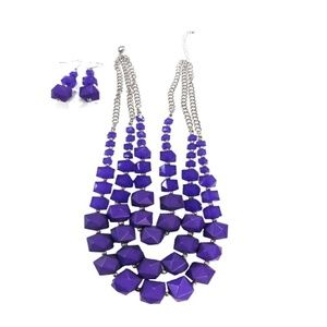 Silver-Tone  3-Strand Blue Beaded Necklace earring